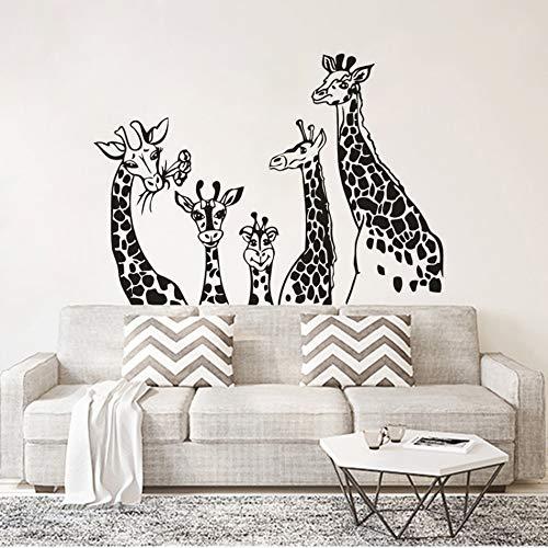 Wopiaol grijze keuken muursticker kantoor muursticker giraf familie dierthema giraffen 79X57cm