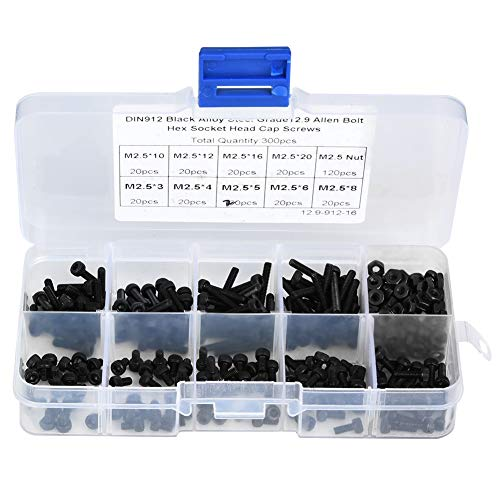 Tornillo hexagonal M2.5 x 3-20 mm, 300 piezas M2.5 x 3-20 mm 12.9 Perno de tornillo de cabeza hexagonal de acero de aleación negro de grado 12.9 con tuerca para mantenimiento automotriz, reparación de