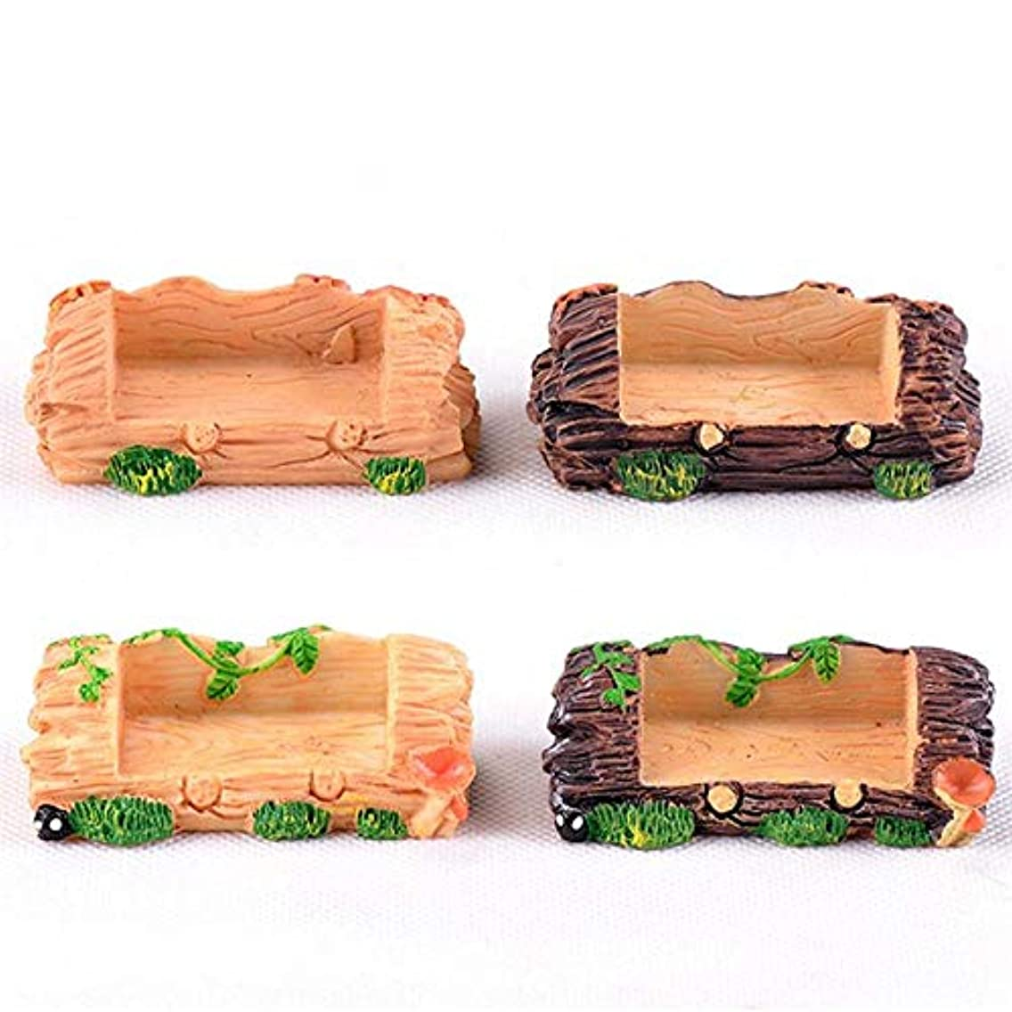 Creative Resin Double Seat Wooden Stool Ornaments DIY Moss Micro Landscape World Ornament Decoration Random