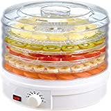 Electric Countertop Food Dehydrator - 350W Food Preserve - Beef Jerky、Fish Poultry、Fruit Vegetables Dryer with 5 Stackable Trays & Temperature Control Knob