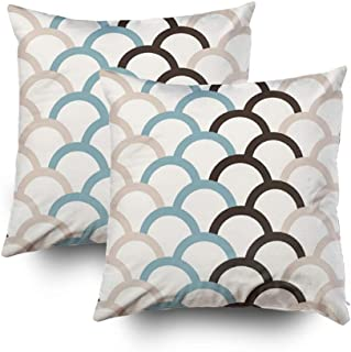 Musesh Pack of 2 Cute Patterns Brown Cream Living Room Blue Teal Cushions Throw Pillow Ccovers for Sofa Home Decorative Pillowcase 18X18Inch Pillow Covers