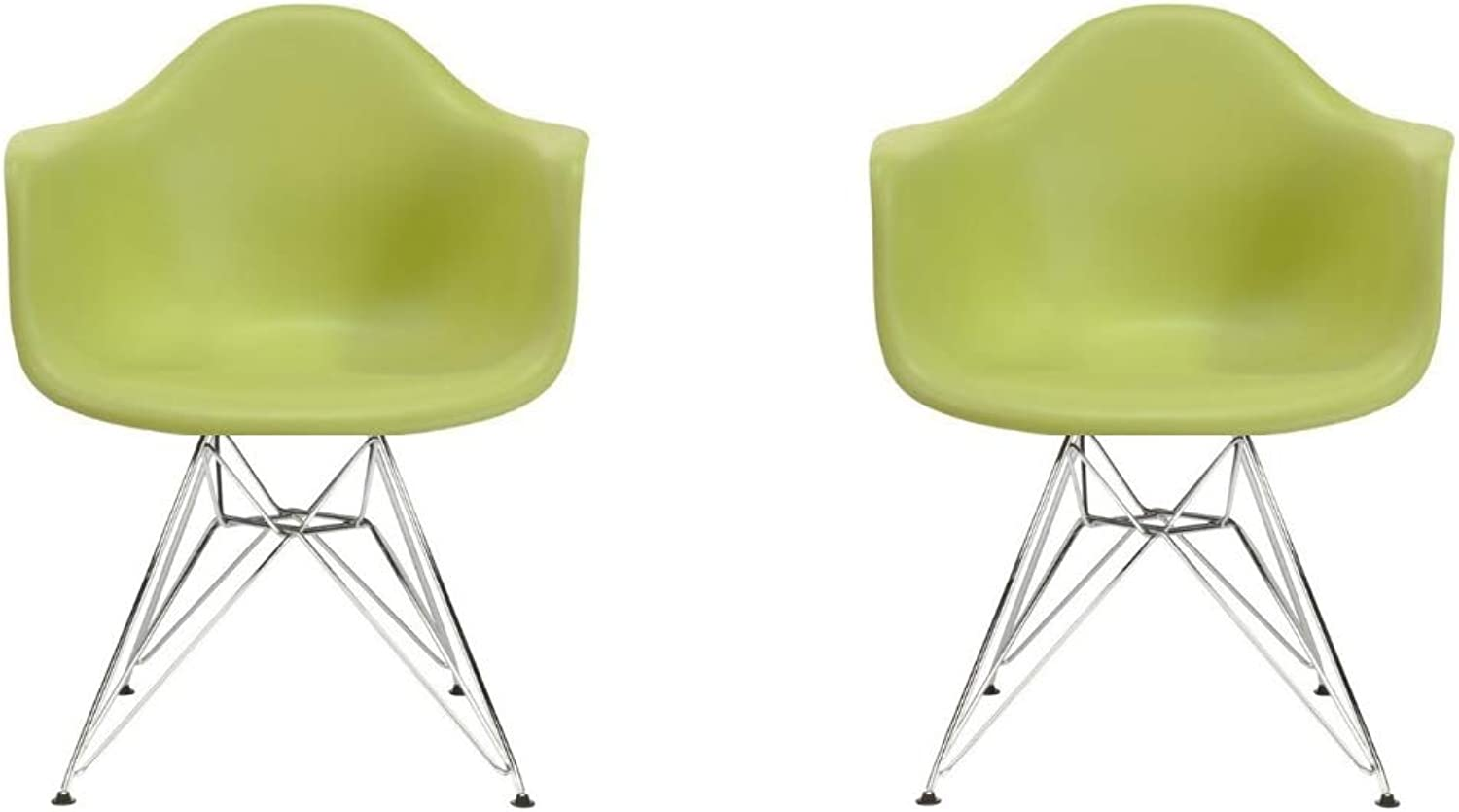 Take Me Home Furniture Eiffel Style Bucket Chair with Chrome Legs, Green, Set of 2, Dining Chair