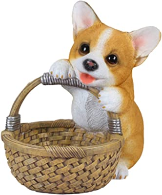 sleeri Tabletop Resin Corgi Dog Figurine/Dog Collectible Resin Decor Figurine/Desktop Key Storage Basket - Home Decorations Storage Basket Tabletop Ornament Party Supplies, Home Decoration Ornaments