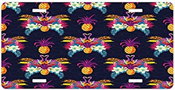 High Gloss Aluminum Novelty Plate Multicolor Watercolor Tropical Island Style Border Print Exotic Fruit Palm Trees and Leaves Ambesonne Pineapple License Plate 5.88 X 11.88