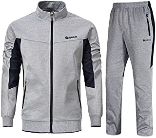 YSENTO Men's Tracksuits Sports Athletic Sweat Suits Full Zip Jackets Jogger Pants Zipper Pockets