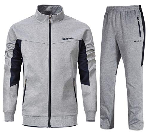 YSENTO Mens Sweat Suits 2 Pieces Full Zip Workout Jogging Sports Tracksuits Grey L