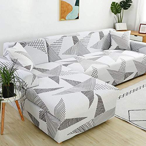 YANJHJY 1 Funda de sofá geométrica, Funda de sofá elástica, para Sala de Estar, Esquina, en Forma de L, Chaise Longue, Funda de sofá, Color 15,2 plazas y 2 plazas