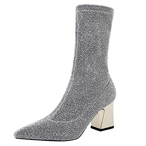 Botas cortas para mujer, botas de calcetín, botas de tacón cuadrado cómodas con punta puntiaguda, botines clásicos de moda de invierno para boda de PU