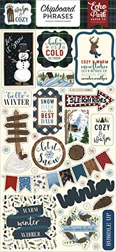 Echo Park Paper Company Warm & Cozy 6x13 Phrases chipboard, green, red, navy, blue, woodgrain
