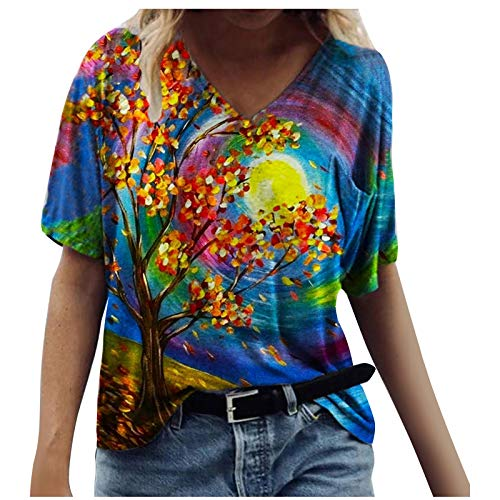 Short Sleeve Summer Tops for Women Fashion Animals Floral Print Tee Blouse Casual V Neck T Shirts Loose Tunics Tops Plus Size for Ladies
