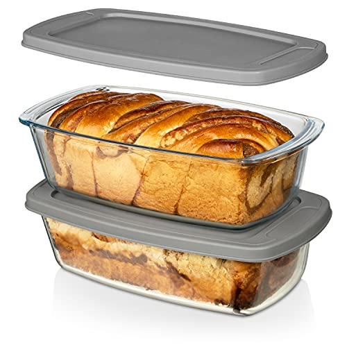 LARGE Superior Glass 7.6 Cups/ 1800ML/1.9Qt Razab (Set of 2) Glass Loaf Pan w/Lids - Meatloaf Pan Airtight BPA free - Easy Grip Handle, Microwave & Oven Safe - Loaf Pans For Baking Bread, Cakes etc