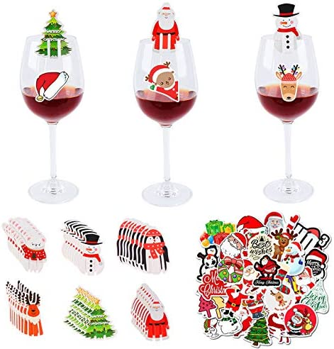 Max 69% OFF 98 Pcs Christmas Glass Drink Cards Decorations Boston Mall Markers Cup Chris