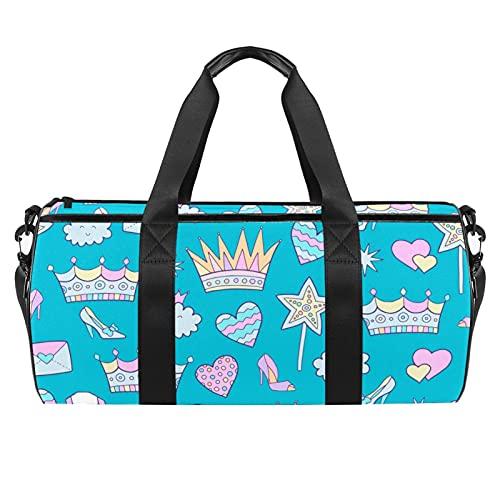 Crown Cute Elements Pattern Gym Bag para hombres y mujeres Bolsas de fin de semana Bolsa de viaje deportiva con bolsillo impermeable