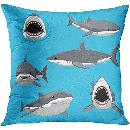 MJDIY kussenslopen, boze grote witte haai zes poses cartoon agressief Aquarium zachte comfortabele kussenslopen voor thuis computer gebruik