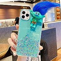 トロールドール トロール人形 フィギュアおもちゃ 装飾 iPhone 12 mini ケース DIY 髪の毛を結べる 携帯電話ケース 3Dカバー 高級感 手触り良い 耐衝撃 保護カバー (iPhone12 mini, 緑)