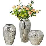 YAOHEHUA Vases Decoratifs Design Vase Design Contemporain Moderne Maison TV Meuble Cave À Vin Décoration Vase Arrangement Floral en Céramique Oeuvre en Argent Plaqué Meubles