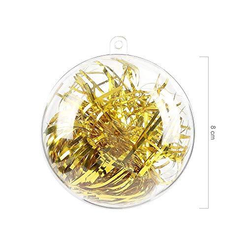 Green Joy Lot de 20 Pieces Boule Transparente à remplir en Plastique Décoration Suspension pour Noël Sapin Paque Anniversaire Mariage Ornements Décoratifs pour Chambre Enfant Boule de Bain 8cm