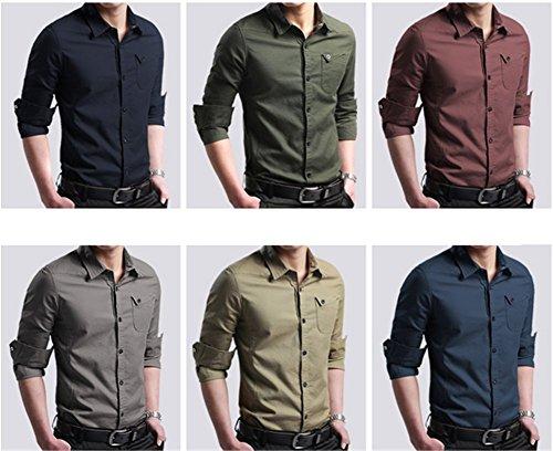 SHUIANGRAN Men's Casual Slim Fit Shirt Cotton Long Sleeve Button Down Dress Shirt Lake Blue Aisan 4XL