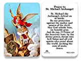 Traditional Saint Michael Prayer Card Laminated for Durability and Longevity Perfect Size for any Purse, Wallet, or Pocket! Makes a Great Accompaniment to any First Communion or Confirmation Gift! Features Traditional Saint Michael Prayer and Medal L...