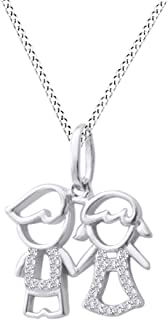 Jewel Zone US Son Daughter Two Kids Twins Family Pendant Necklace 14k Gold Over Sterling Silver