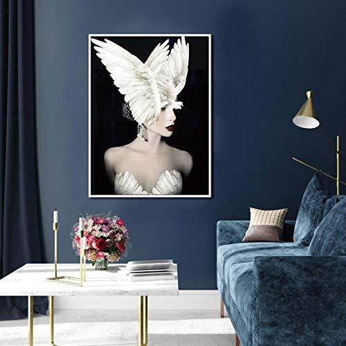 LLXXD Nordic Modern Style Schöne Flügel Mädchen Poster Kunst Leinwand Bilder für Wohnzimmer Schlafzimmer Dekor Malerei -60x80cm (kein Rahmen)