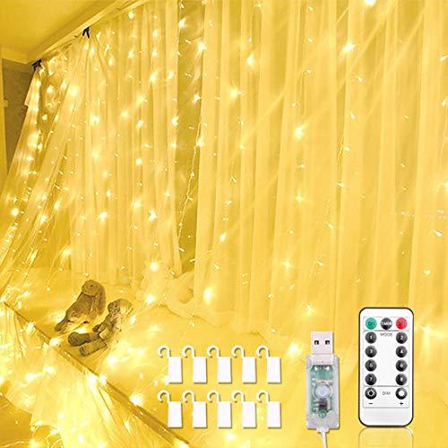 Tymleap USB LED Lichterketten, LED USB Lichtervorhang, 3 * 3m 300 LEDs Vorhanglichter Lichterkettenvorhang String Light mit Fernbedienung für Deko Weihnachten, Partydekoration, Hochzeit Warmweiß