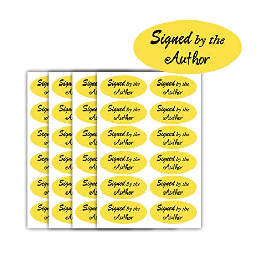 Signed by The Author Stickers, 1''×2'' Oval Bright Gold Foil Signed Sticker - 1008 Labels/Pack