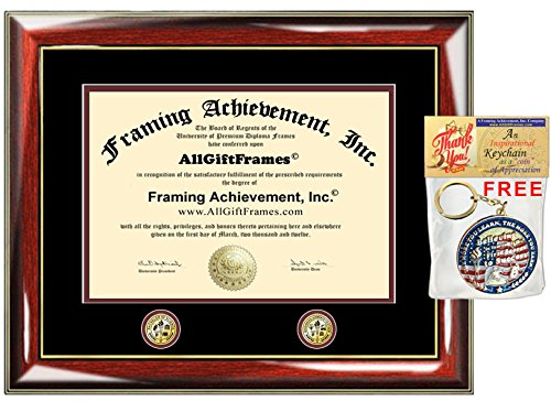 Premium Glossy Prestige Mahogany with Gold Accents Two Double Dual Gold Seal Insignia College Graduation Gift Diploma Frame - University Certificate Matted Frame - Top mat (Black) Inner mat (Maroon)
