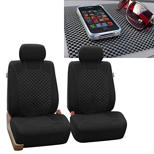 FH Group FB066102 Ornate Diamond Stitching Car Seat Covers, White/Black FH1002 Non-Slip Dash Pad- Fit Most Car, Truck, SUV, or Van
