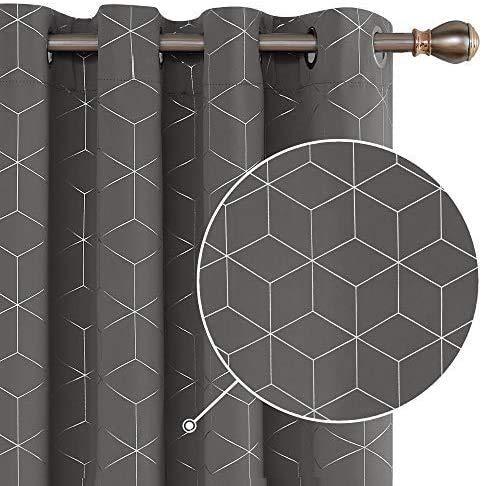 Deconovo Tende Oscuranti Termica Isolante con Anelli Stampa Diamante per Soggiorno 140x245cm 2 Pannelli Grigio Chiaro
