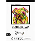 Bianyo Bleedproof Marker Paper Pad, A4(8.27'X11.69'), 50 Sheets, 18 LB / 70 GSM, Glue-Bound, 100% Cotton, White, Ideal for Use with Markers and Ink Mediums