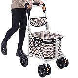 Chariots de courses Caddie caddie shopping voiture push-pull voiture d'escalier camion Seniors acheter un chariot de provisions Walker Trolley à quatre roues Peut s'asseoir et se replier
