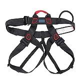 Arnés de Seguridad de Escalada - Cinturones de Seguridad para Montañismo para Hombre Mujer - Arnés Anticaídas de Montaña Ajustable Multiusos(Black)