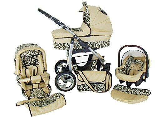 Chilly Kids Dino 3 in 1 Kinderwagen Set (Autosit & Adapter, Regenschutz, Moskitonetz, Schwenkräder) 14 Beige & Leo