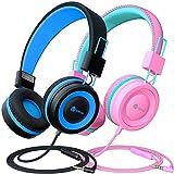 Kinder Kopfhörer 2 Pack, Kabelgebundene Kopfhörer für Kinder mit MIC, Lautstärkeregelung einstellbare Stirnband, Faltbar auf Ohr Kopfhörer Kinder für Schule Flugzeug