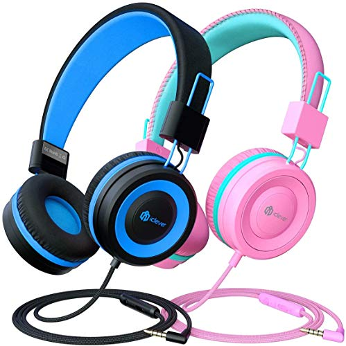 2 Pack Casque Audio Enfant, iClever Ecouteurs Enfants Filaire, Bandeau Réglable avec 85/94 DB Volume Limité, Ecouteurs Pliable Enfants pour l'Ecole Voyage