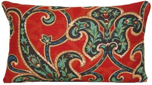 Sierkussen rood blauw groen kussen Nina Campbell kussensloop bloemen San Simeon 50 x 30 cm