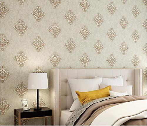 Papel pintado 3D Damasco no tejido Papel pintado color café claro para decoración de pared de dormitorio y hogar, papel pintado minimalista de lujo 0.53mx9.5m