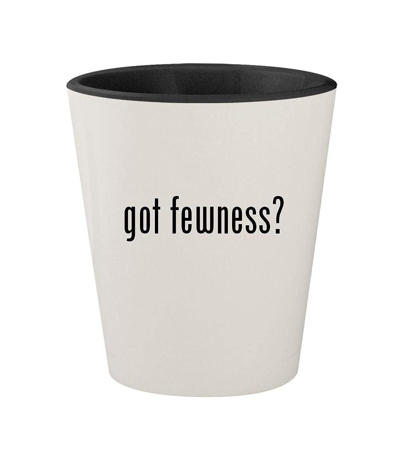 got fewness? - Ceramic White Outer & Black Inner 1.5oz Shot Glass
