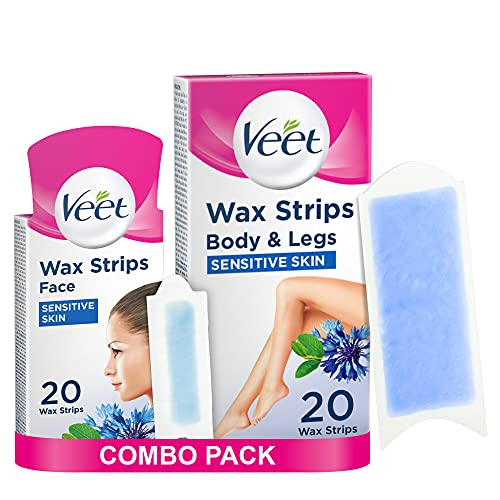 Veet Hair Removal Wax Strips for Sensitive Skin Face (20 Strips) and Legs & Body (20 Strips), Total 40 Strips