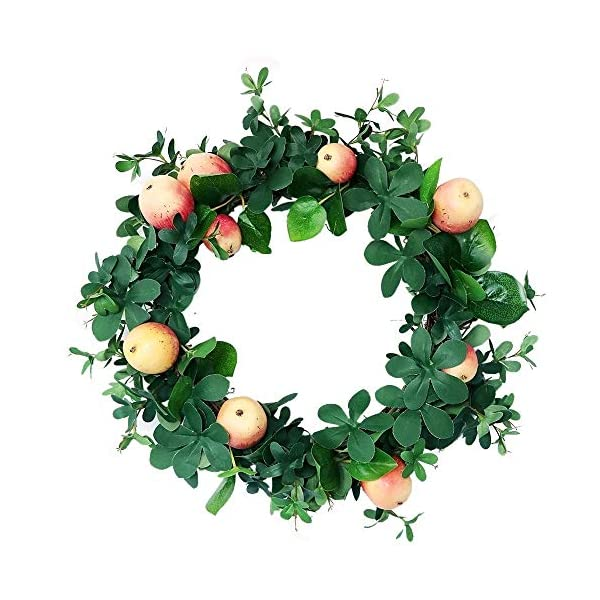Artificial Wreath 16.5 Inch Hanging Fall Decoration, Simulation Garland with Apple and Eucalyptus Leaves for Front Door Wreath Christmas Ornament Wreath