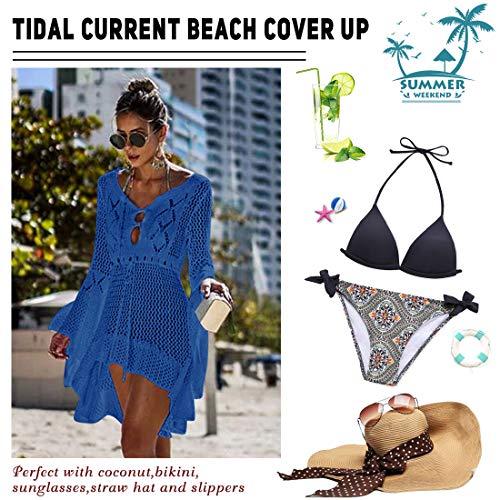 Voqeen Mujer Manga de murciélago Ahuecar Bikini De Punto Cubrir Vestido Playero de Playa