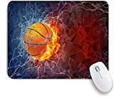 PATINISA Alfombrilla Raton Ordenador,Balon de Baloncesto Fuego Agua aligeramiento,Alfombrilla Suave Gaming para Ratón Adecuado para ratón de Oficina y para Gaming 240 x 200 mm