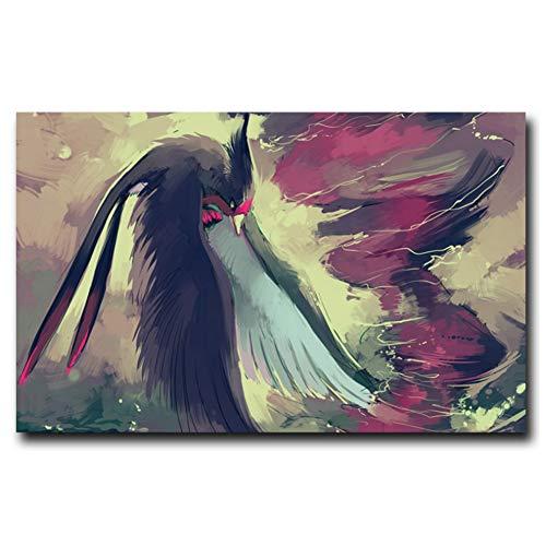 Kunstwerk Vogels Pokemon Swellow Art Poster Print Home Wall Decor Schilderen Print op canvas Decoratie in huis -60x90cm Geen Frame