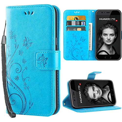 iDoer Huawei P10 hülle,Solide Butterfly PU Ledercase Tasche Schutzhülle Huawei P10 flipcase Magnetverschluss Handyhülle im Wallet Bookstyle - Blau