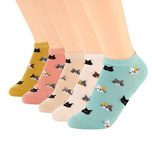 XIANOOER Calcetines cortos para Deportivas y Botines para Mujer, Socks Women Fashion Sneaker (5 pares de calcetines para gatos 2)