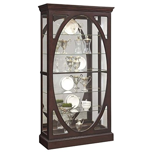Beaumont Lane Oval Framed Mirrored Curio Cabinet in Sable Brown