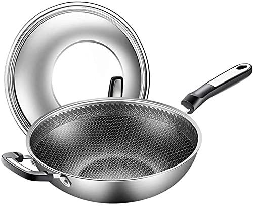 Sartenes para cocinar Wok de acero inoxidable mango antiescalda sartén antiadherente olla de cocina de fondo plano para el hogar cocina de inducción estufa de gas pantalla completa universal (Color: P