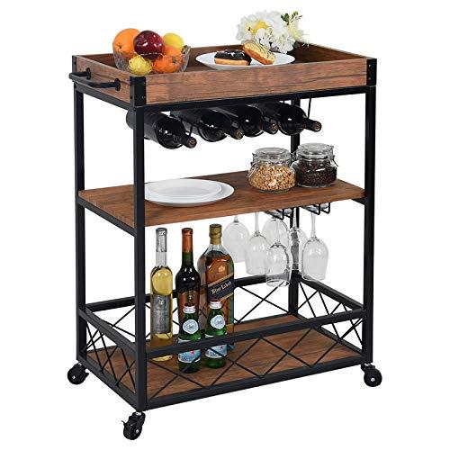 CHARAVECTOR Bar Cart Kitchen Bar&Serving Cart for Home with 3 -Tier Storage Shelves Kitchen Island Cart,Metal Wine Rack Storage and Glass Bottle Holder