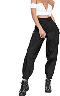 GUYUEQIQIN Women's Cargo Pants, Casual Outdoor Solid Color Elastic High Waisted Baggy Jogger Workout Pants with Pockets